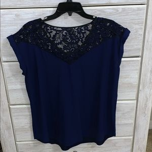 Express blue lace accent top